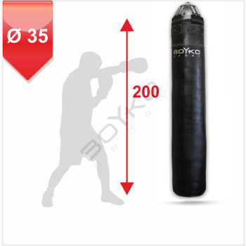 Punching Bag d-35cm h-200cm, Leather on springs, 50-70 kg
