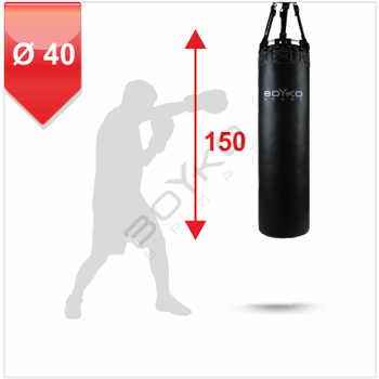 Punching Bag d-40 - 150 cm Leather on straps, 45-65 kg